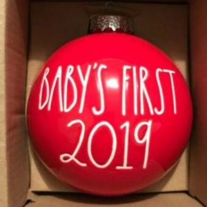 Rae Dunn Red Baby's First Christmas Ornament, 2019
